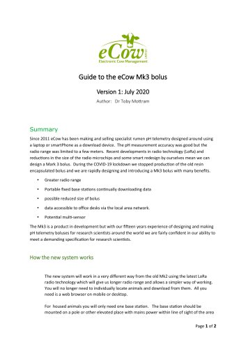 Guide to the eCow Mk3 bolus