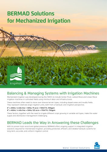 BERMAD Solutions for Mechanized Irrigation