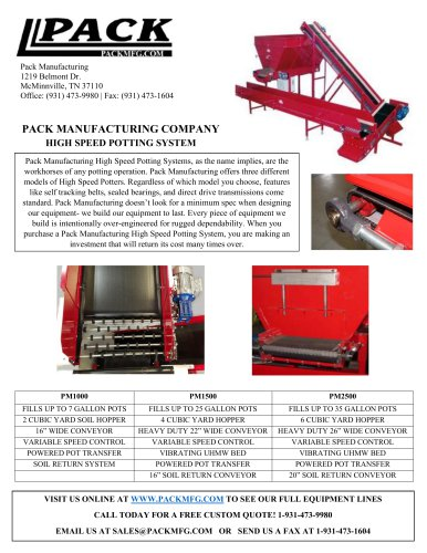 PACK MANUFACTURING COMPANY HIGH SPEED POTTING SYSTEM