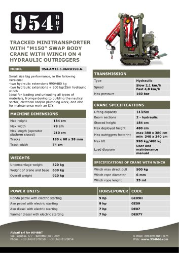 Tracked Minitransporter with M150 Swap Body Crane, Winch, and 4 Hydraulic Outriggers