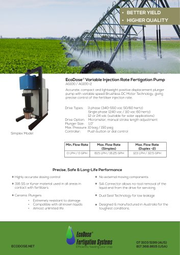 EcoDose AG100 2 Fertigation Pump
